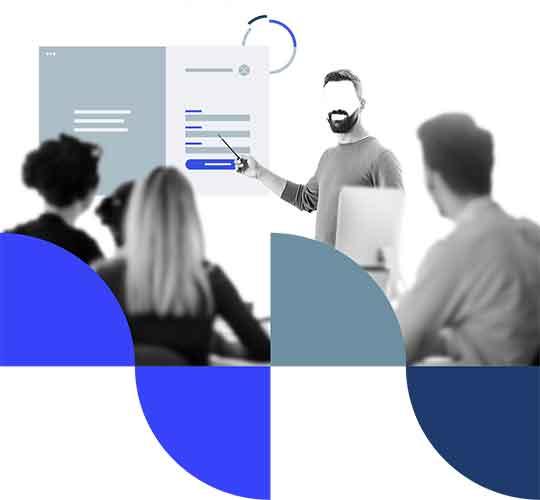 Illustratie van een werknemers die een workshop volgen